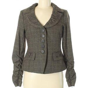 NANETTE LEPORE Plaid Ruched Sleeve Blazer Jacket